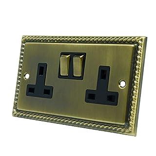 Georgian Antique Brass 2 Gang Socket - 13 Amp Double Electrical Plug Socket