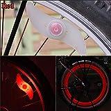 YuGG Nouveau E-Prance Double Face vélo Rayons lumière Vent feu Roues Gel de silice Parle lumière Fil de Lampe en Acier Lampe de Roue de vélo de vélo, Rouge
