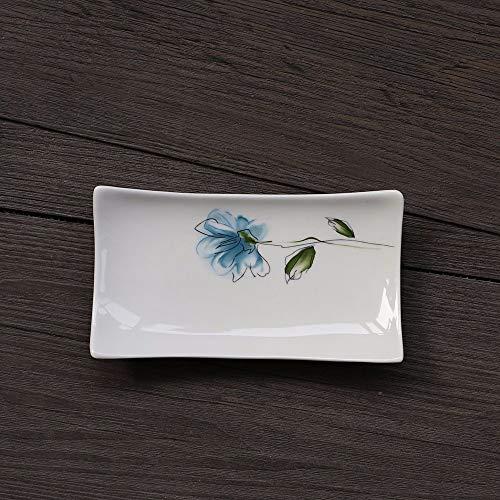 Design-porzellan Seifenschale (Seifenschale  Weiß Porzellan Keramik Quadrat Original Design Handarbeit Blaue Blume Muster Retro Antik Ländlichen Stil Kreativ Jahrgang Dekoration Für Bad Küche Hotel)