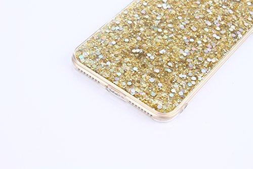 iPhone 7 Plus Hülle,SainCat iPhone 7 Plus Silikon Hülle Luxus Spiegel Sparkle Strass Diamant Tasche Handyhülle [Ring Fingerhalterung Ständer] Glitzer Schutzhülle Ultra Dünn TPU Gel Case Bumper Weiche  Gold#