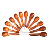 Wood Art Store Handmade Wooden Teaspoons - Set Of 6 (5 Inches) And Wooden Masala Spoons - Set Of 6 ( 4 Inches)