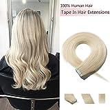 S-noilite Tape Extensions Echthaar Platinblond #60 Haarverlängerung Remy Echthaar Tape In - 20pcs/30 gramm pro Packung (55cm)