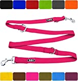 DDOXX Hundeleine Premium Nylon 3fach verstellbar viele Farben & Größen für kleine & große Hunde | Doppelleine Hund groß | Führleine Katze klein | Flexi-Leine Welpe | Hunde-Leinen | XS, Pink, 2m
