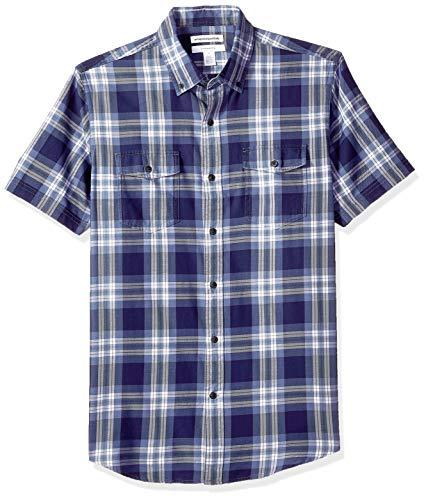 Button-down One Pocket Shirt (Amazon Essentials Herren Slim-Fit-Hemd aus Baumwolltwill mit kurzen Ärmeln und zwei Brusttaschen, Blau (Blue Plaid Bpl), One Size (Herstellergröße: XS - XXL))