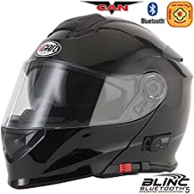 VCAN V271 modulare moto Bluetooth Flip Up Casco Nero Lucido