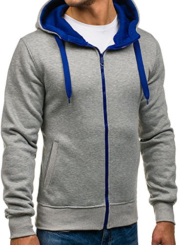 BOLF Kapuzenpullover Sweatshirt Hoodie Kapuze Pullover mit Reißverschluss Mix 1A1 Grau_2073