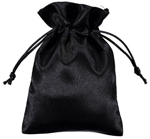 100 Stück Kleine Satin Beutel 10x15cm Schwarz - Perfekte Satin Geschenk Taschen - von Shingyo (Großhandel-stoff-taschen)