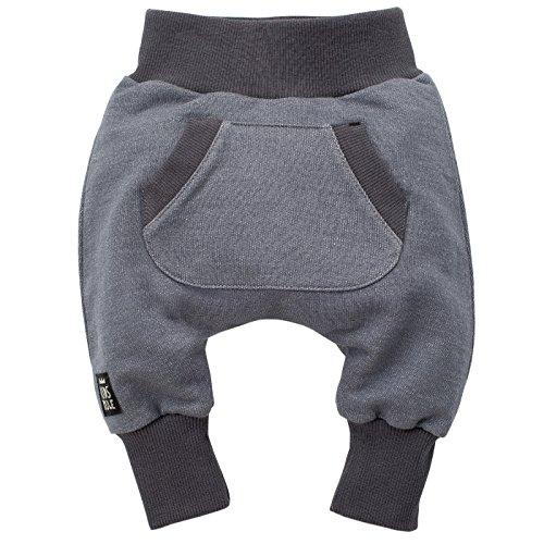 Pinokio - Happy Day - Baby Hose 100% Baumwolle-grau - Jogginghose, Haremshose Pumphose Schlupfhose- elastischer Bund, unisex (98)