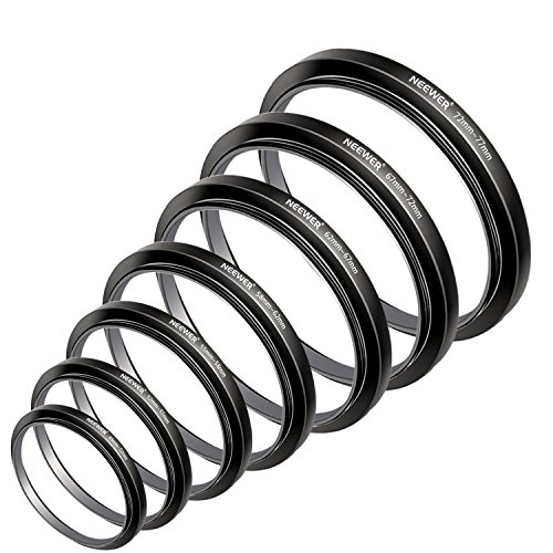 Neewer 7pcs 49mm 77mm Filtro Step Up Anillos Stepping