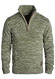 !Solid Philostrate Herren Strickpullover Troyer Grobstrick Pullover Aus 100% Baumwolle Mit Reißverschluss, Größe:L, Farbe:Ivy Green (3797)