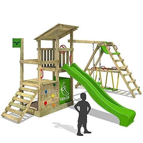 FATMOOSE Kletterturm FruityForest Fun XXL Klettergerüst Spielturm Beach-House mit Schaukel Sandkasten Rutsche und Surfanbau auf 3