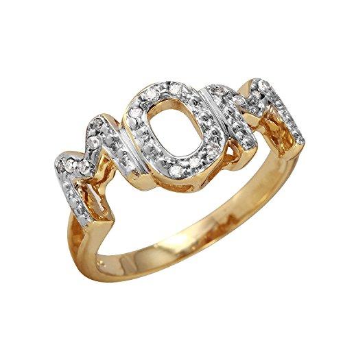 0,16Karat natürlicher Diamant 10ct Gelb Gold 'Mom' Ring für Frauen (10 Mom Größe Ringe)