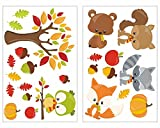 plot4u 24-Teiliges Herbst Tiere Wandtattoo Set Kinderzimmer Babyzimmer in 5 Größen (2x16x26cm Mehrfarbig)