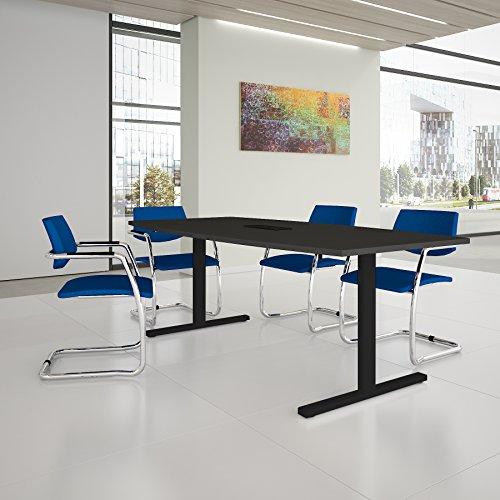 EASY Konferenztisch Bootsform 200x100 cm Anthrazit mit Elektrifizierung Besprechungstisch Tisch, Gestellfarbe:Anthrazit