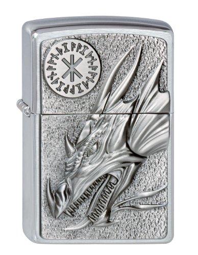 Zippo 2002726 200 - Mechero, diseño de dragón con amuleto, color plateado