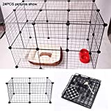 Pet Playpen, Iron Pet Dog Pen Puppy Cat Rabbit Foldable Playpen Indoor/Outdoor Enclosure Run Cage, Pet Playpen Fence(Black)