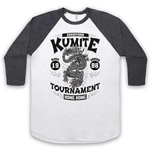 Bloodsport Kumite 1988 Black Dragon Tournament 3/4 Hulse Retro Baseball T-Shirt Weis & Dunkelgrau