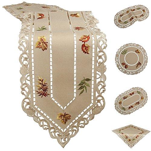 Preisvergleich Produktbild Herbstlaub Tischdeckchen Tischläufer Decke Leinen-Optik Beige Gold Braun Gelb Blätter Stickerei (ca. 30 x 45 cm Oval)