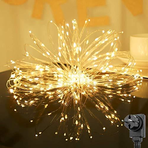 Salcar 20m 200er led decorativo luce + 3m cavo di alimentazione, 4.5v alimentazione di sicurezza, copper led luce per la casa, albero di natale, bar, decorazione con funzione memoria - bianco caldo