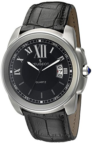 Peugeot Men's 2045SBK Round Stainless Steel Leather Analog Display Quartz Black Watch