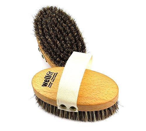 Wellfit Gesundheitsbürste - Handbürste - Badebürste, Massagebürste - aus gedämpft und geöltem Buchenholz mit einer Borstenmischung aus Rosshaar und kräftigen Naturfasern, Maße ca. 135 x 70 mm -
