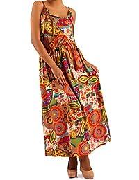 Damen Maxikleid Hippie Maxidress Strandkleid mit Musterprint