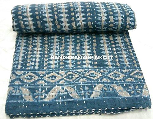 handicraftofpinkcity indischen Überwurf Ikat Print Kantha Quilt Handmade Reversible Tagesdecke Vintage Baumwolle Bett Bezug Decor Block Print Gudri Decke