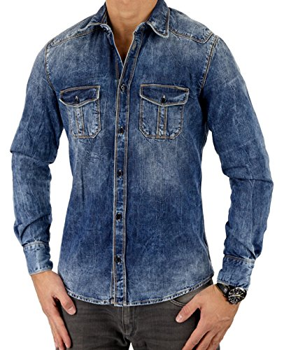 Antony Morato Herren Hemd Jeanshemd GOLD SLIM, Farbe: Blau Blau