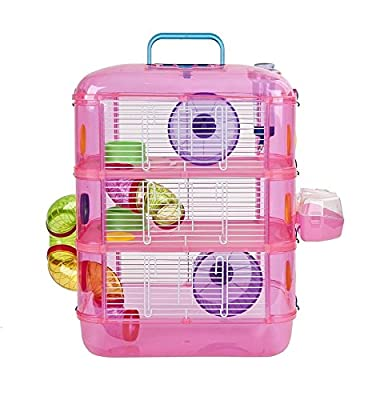 Hamster Cage | 3 Story With Tubes | Perfect For Hamsters And Gerbils | M&W (Pink). by Xbite