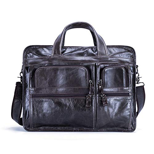 Mannes Tablet für Unternehmen Herren Laptop Aktentasche Business Messenger Bag Multifunktionsstruktur Tasche (Farbe : Green Coffee)