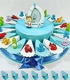 (20Bomboniere + Zentrale) Geschenke Geburt Junge Stil Meer mit Tierchen Marinen Fisch Nemo, Medusa, Krabbe, Seepferd, Krake, Hummer, Schildkröte und zentrale Bilderrahmen Seemann KKK