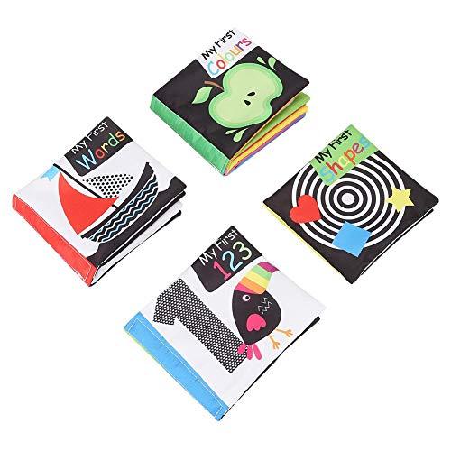 Hztyyier 4Pcs Stoffbuch für Babys Soft-Bilderbuch Crinkle Tuch Buch Sets Kleinkind Erste Lernen Buch Cartoon Anti-Tear Früherziehung Spielzeug (Kleinkinder Buch-set Für)