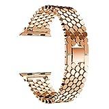 Armband für Apple Watch 38mm AISPORTS iWatch Armband 38mm Edelstahl Smart Watch Band Ersatzband Armband Schnallenverschluss Armband für 38mm Apple Watch Serie 3/2/1 Sport Edition, Roségold
