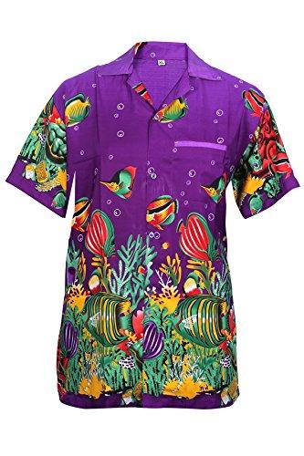 SAITARK-Camisa-Casual-con-Botones-Para-Hombre-Purple-Fish-X-Small