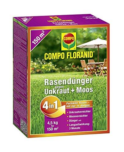 Compo Floranid Engrais à gazon contre mauvaises herbes + Mousse 4 en 1, 4,5 kg