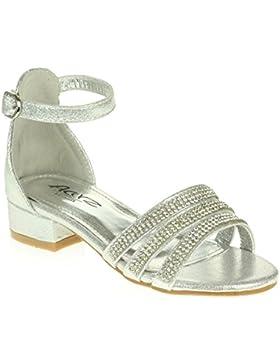 [Patrocinado]AARZ LONDON Niña Niños Brillante Diamante Noche Fiesta Comfort Tacón Ancho Sandalias Zapatos Tamaño