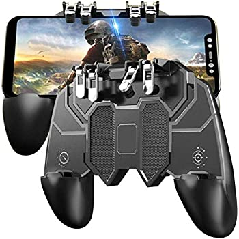 KimTok PUBG Trigger Controller 6 Fingers Mobile Game Joystick Grip L2R2 Button,Shooting Aim Keys for All Android iOS Phone (Black)
