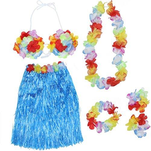 5-in-1hawaiianisches, tropisches Hula-Tanz-Shirt-Set mit Bastrock mit 60-cm-Länge, BH, einem Paar Blumen-Armbändern, einem Blumen-Stirnband und einer Halskette