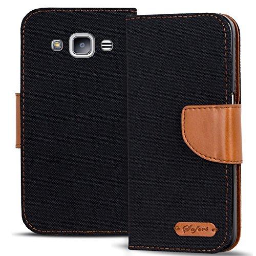 Verco Galaxy J1 Hülle, Schutzhülle für Samsung Galaxy J1 2016 Tasche Denim Textil Book Case Flip Case - Klapphülle Schwarz
