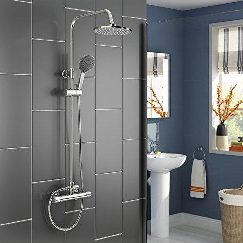 Panana mehrfunktional Duschsystem mit Thermostat Chrome rund Duschbrause Handbrause Brause Duscharmatur Überkopfbrause Regendusche Regenbrause mit Duschpaneel - Rund