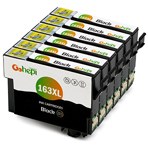 Gohepi 163XL (6 Nero) Sostituzione per Cartucce T1631 Epson 16 16XL Compatibile con Epson WorkForce WF-2630 WF-2510 WF-2760 WF-2660 WF-2530 WF-2750 WF-2650 WF-2520 WF-2540 WF-2010,Confezione da 6