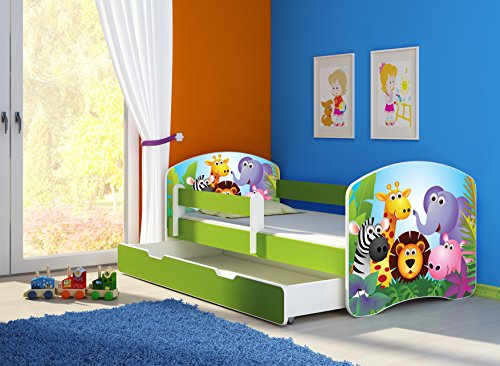 clamaro 39 fantasia gr n 39 kinderbett mit rausfallschutz 38. Black Bedroom Furniture Sets. Home Design Ideas