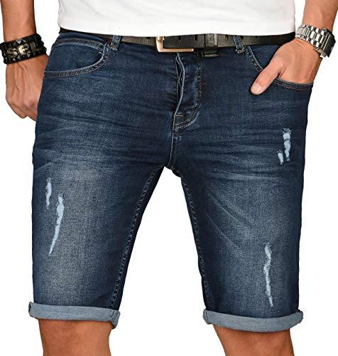 A. Salvarini Herren Designer Jeans Short Kurze Hose Slim Sommer Shorts Washed [AS-148-W30] Jeans Designer-jeans