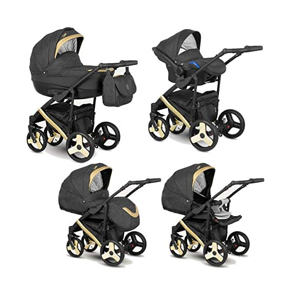 Lux4Kids Stroller Pram 2in1 3in1 Isofix Car seat 12 Colours Free Accessories Leo Anthracite Gold BA-10 4in1 car seat +Isofix Lux4Kids Lux4Kids Leo 3in1 or 2in1 pushchair. You have the choice whether you need a car seat (baby seat certified according to ECE R 44/04 or not). Of course the car is robust, safe and durable Certificate EN 1888:2004, you can also choose our Zoe with Isofix. The baby bath has not only ventilation windows for the summer but also a weather footmuff and a lockable rocker function. The push handle adapts to your size and not vice versa, the entire frame is made of a special aluminium alloy with a patented folding mechanism. 1