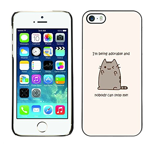 TopCaseStore / Snap On Gummi Schwarz Schutz Hülle Case Cover - Adorable Cat Cartoon Character Motivational - Apple iPhone 5 / 5S