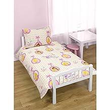 Disney - Juego de fundas para edredón y almohadón con diseño de Princesas Disney para niña (Cama pequeña/Crema/Rosa)