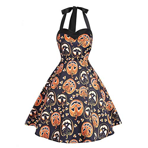 Kürbis Sexy Kostüm - Averyshowya Halloween Kostüm FürRetro Halloween Sexy Kleid Kürbisse Flare Kleid Frauen Halloween Party Swing Dress @ A_XL