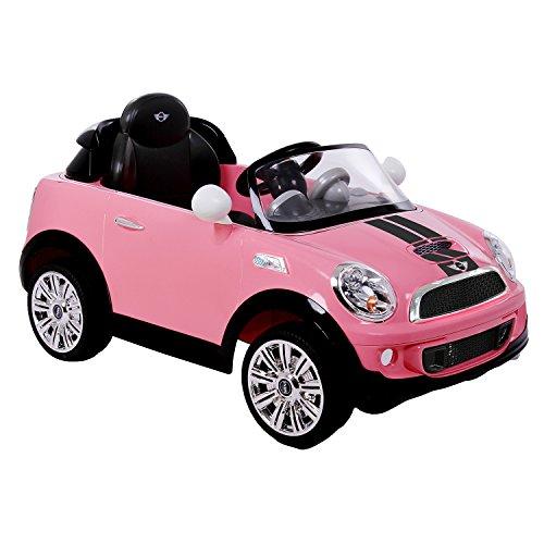 ROLLPLAY Voiture Électrique, Avec Télécommande, Fonction Marche Arrière, À partir de 3 Ans, Jusqu'à 35 kg, Batterie 6 Volts, Jusqu'à 4 km/h, MINI Cooper S Roadster, Rose