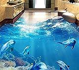 LANYU Benutzerdefinierte 3D Bodenfliese Tapete Moderne Tropische Fische Delphin Selbstklebende Wasserdichte Boden Tapete, 200 * 140 cm