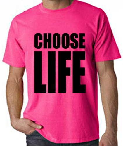 Choose Life Neon Pink Tee for Men - XL